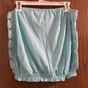 Baby blue lace tube top